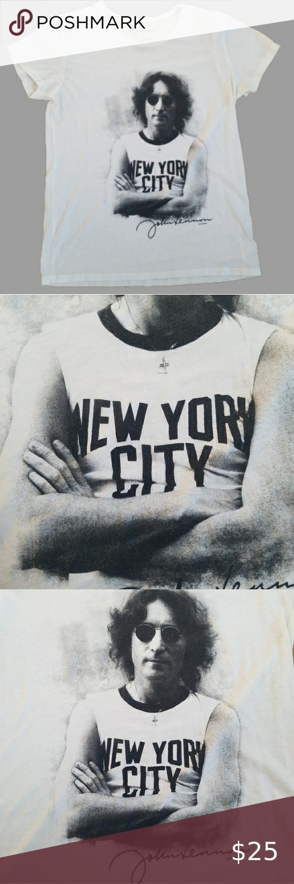 John Lennon Signature Tee Shirt In 2020 Tee Shirts Shirts John Lennon