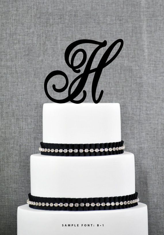 Personalized Monogram Initial Wedding Cake Toppers Letter H Custom Unique