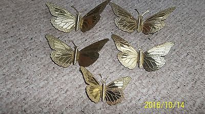 5 Vintage Home Interiors Gold Tone Metal Butterflies Butterfly Wall