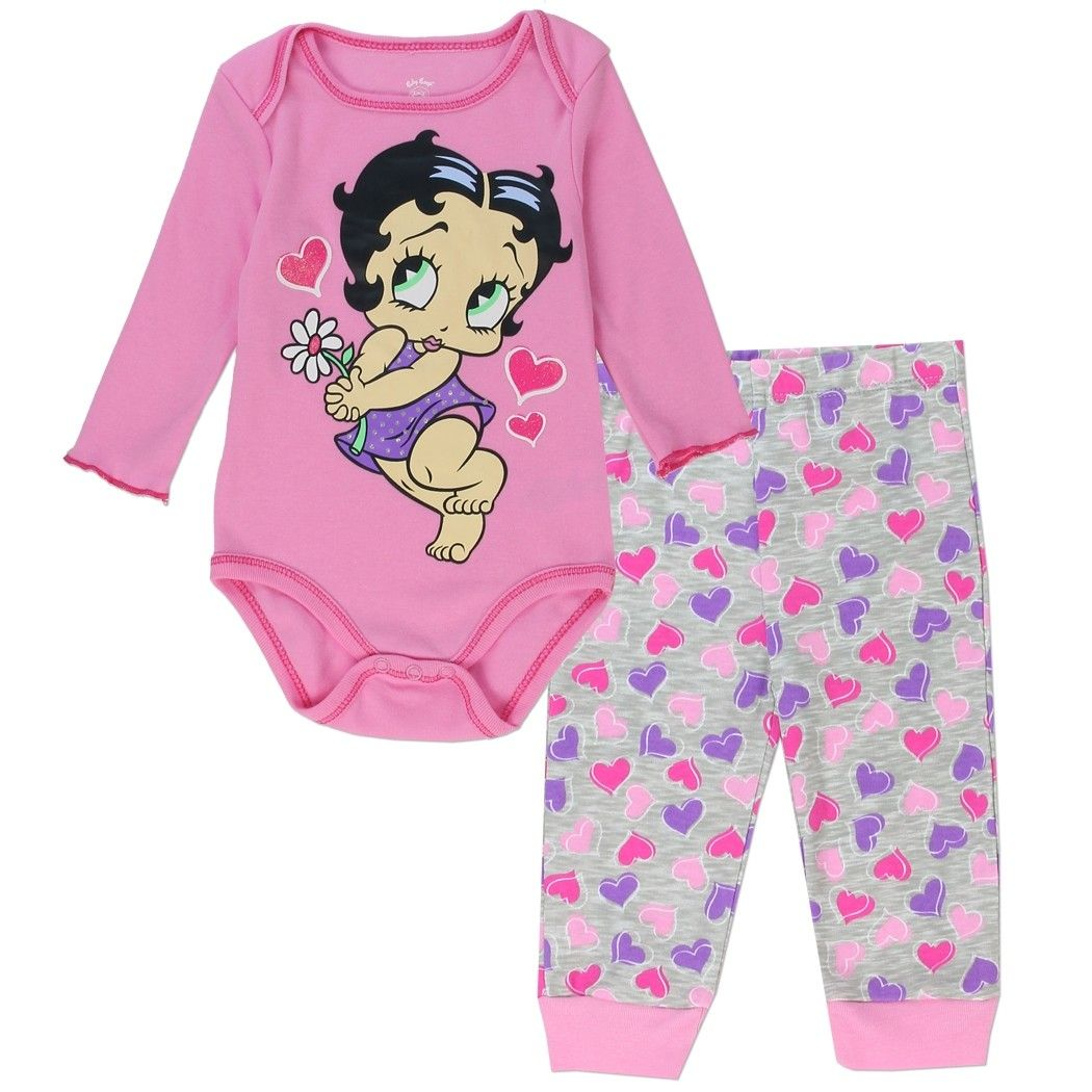 ac55eaef2e28 Betty Boop Coral Onesie With Baby Boop And White Pants With Coral ...