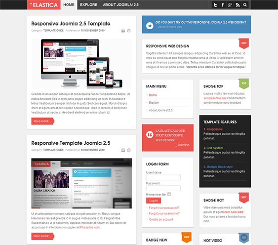 this free pinterest style joomla template comes with a responsive