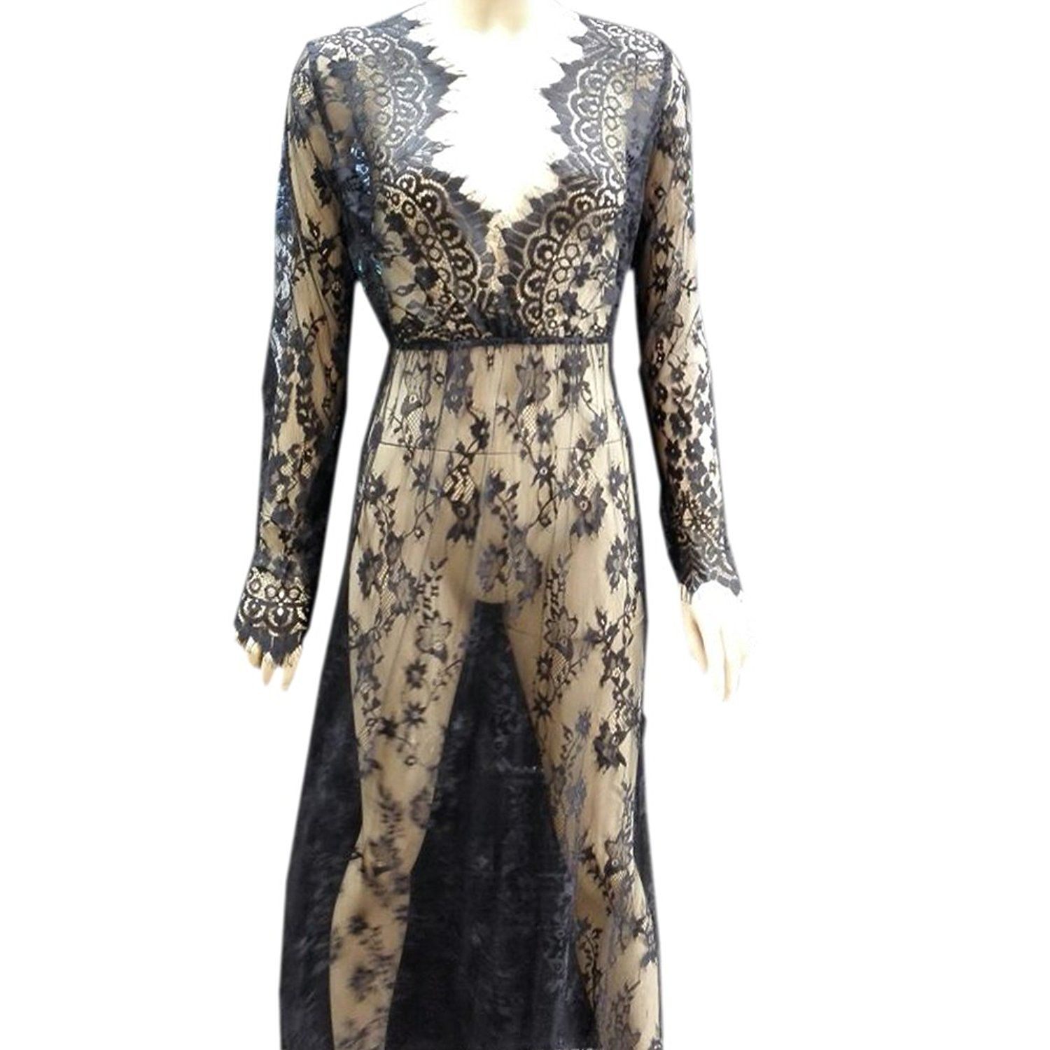 Lace v neck maxi dress  Black Floral Lace Seethrough Deep Vneck Long Sleeves Bridesmaid