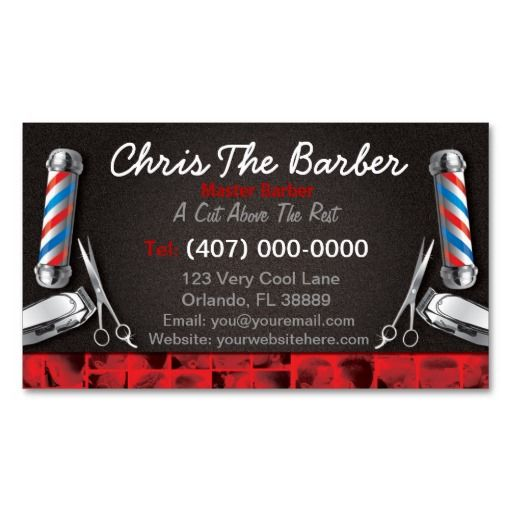 Barbershop Business Card (Barber pole and clippers | Barber's pole ...