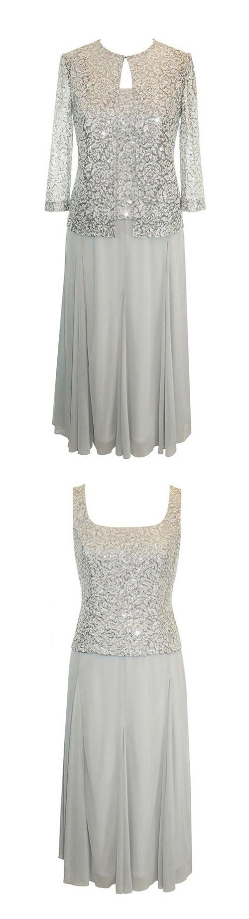 Elegant Square Plus Size Mother Of The Bride Dresses With Lace - Plus Size Jacket Dress For Wedding