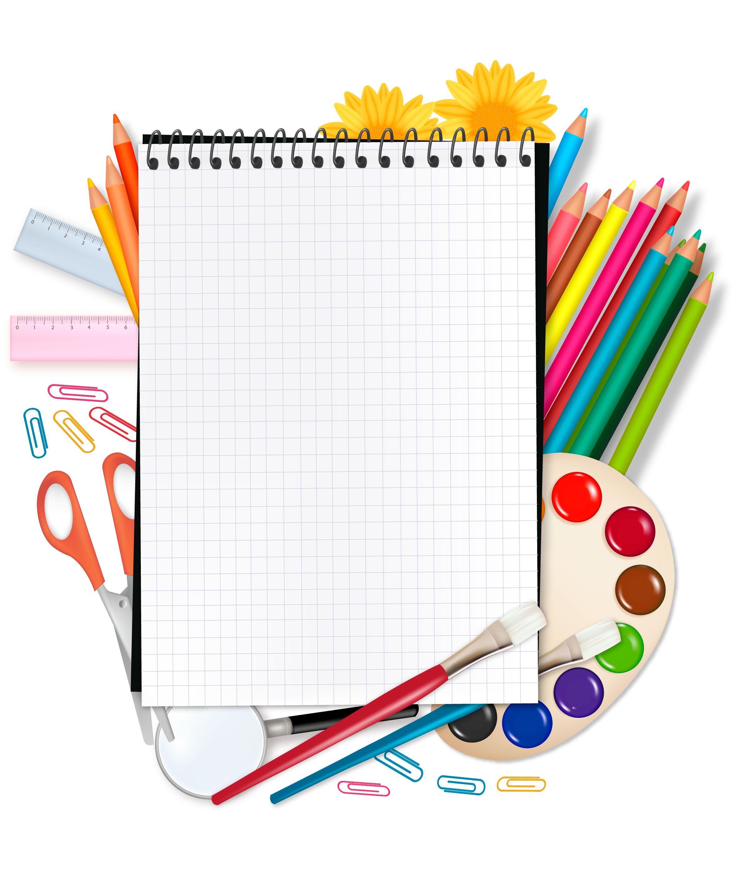Set escolar con marco para texto - vector | Clip art, School and ...