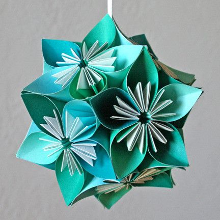 Teal small origami kusudama flower ball style outside the box teal small origami kusudama flower ball mightylinksfo