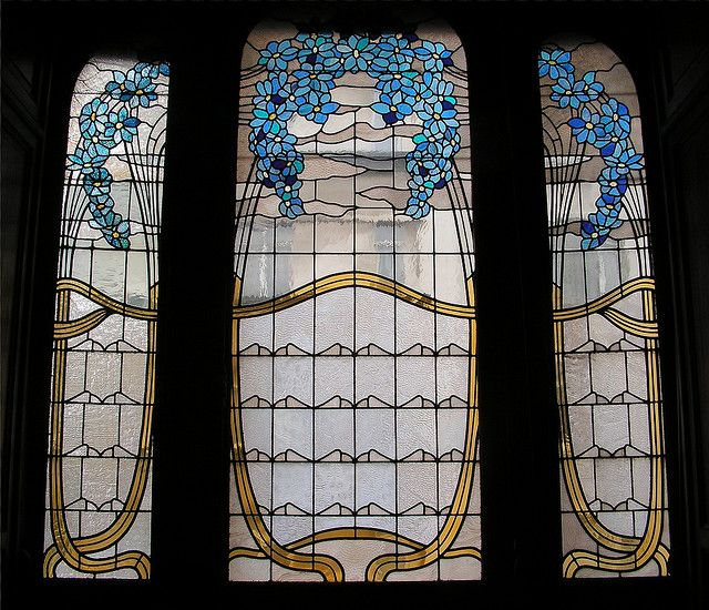 Window, Hotel Hannon, Art Nouveau Stained Glass*