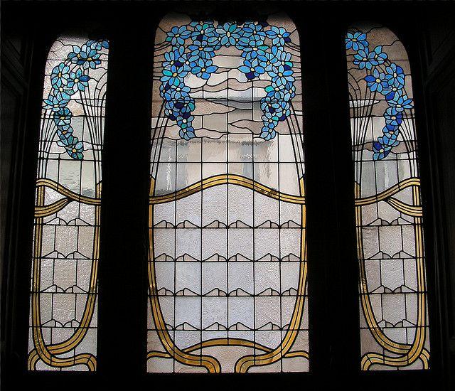 Window, Hotel Hannon, Art Nouveau Stained Glass*