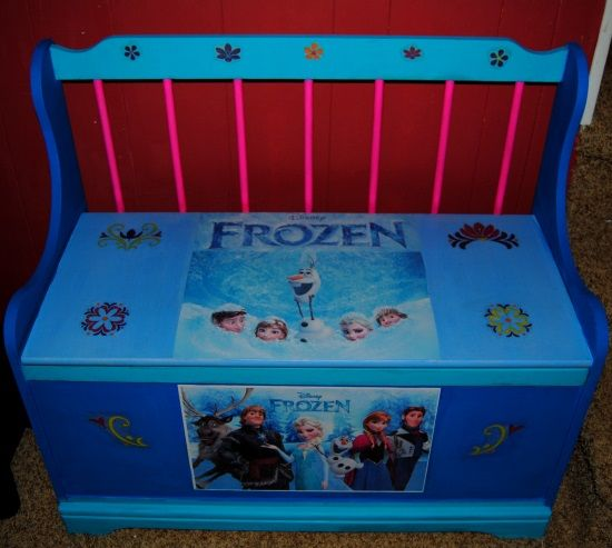 Storage Organizer Toy Box Disney Frozen Playroom Bedroom: Disney Frozen Toy Chest/Bench Ontheupcycle.com