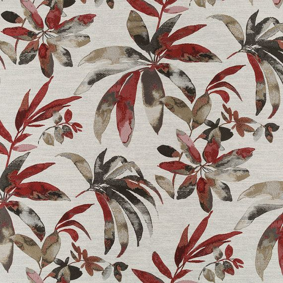 Modern Upholstery Furnishing Pattern Fabric Floral Patchwork In Red Black Grey