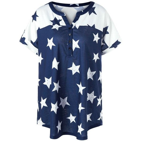 Plus Size Star Henley Tee (29 BAM) ❤ liked on Polyvore featuring tops, t-shirts, henley tee, henley t shirts, blue t shirt, plus size tops and star print top