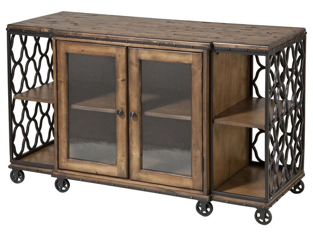 Steampunk industrial media console cabinet tv table for Comedor industrial buffet