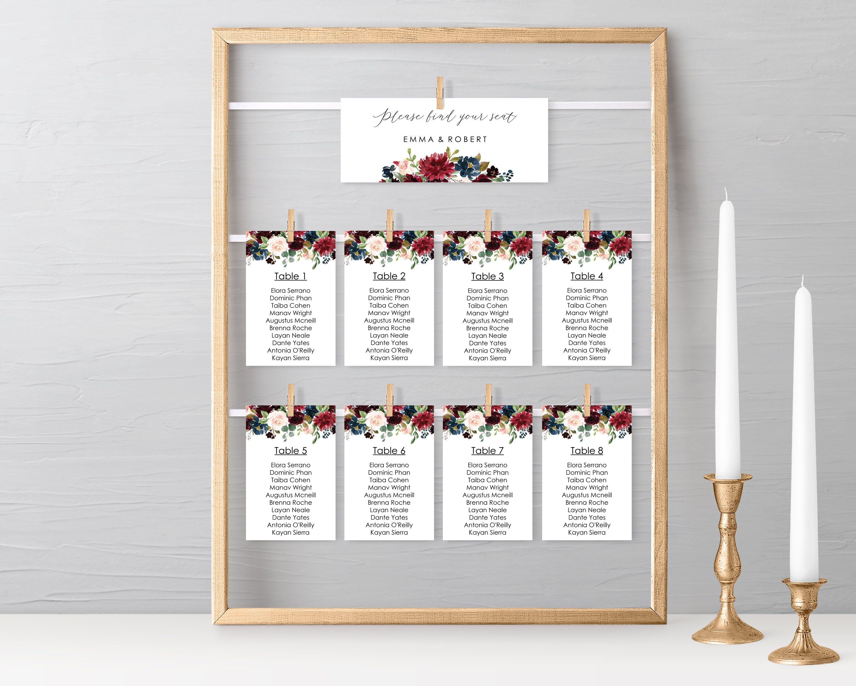 Wedding Seating Chart Cards Download, Seating Plan Card