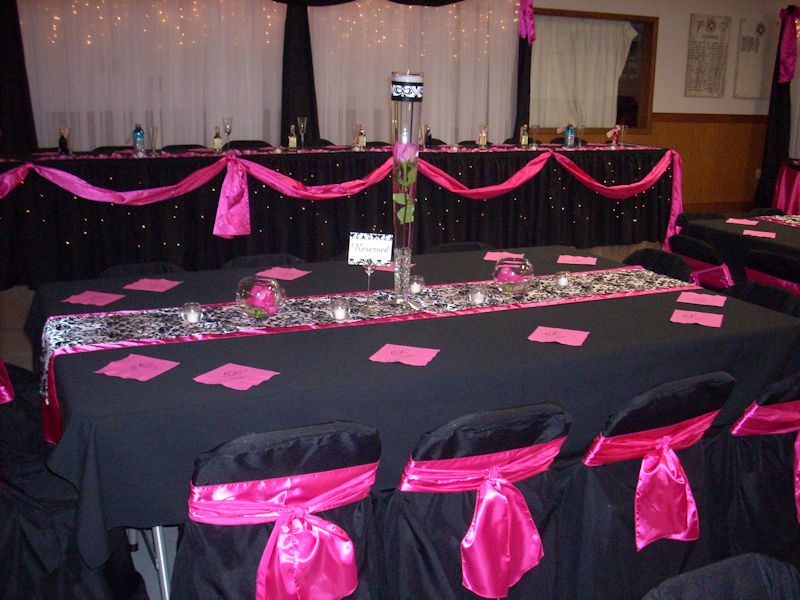 Black Tablecloth Pink Runner   Exclusive Linens U0026 Chair Covers   Wedding  Elegance By Joelle
