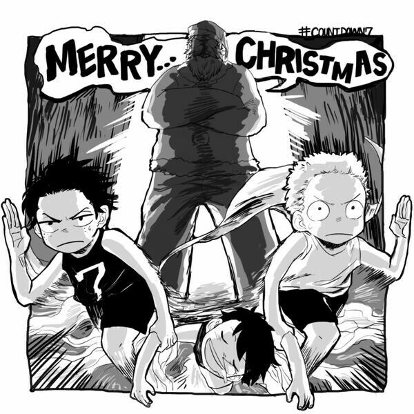 Merry Christmas, funny, text, Ace, Sabo, Luffy, brothers, Garp
