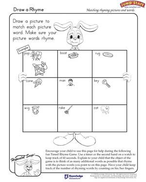 Worksheets Free Art Worksheets draw a rhyme free language arts worksheet for kindergarten kindergarten