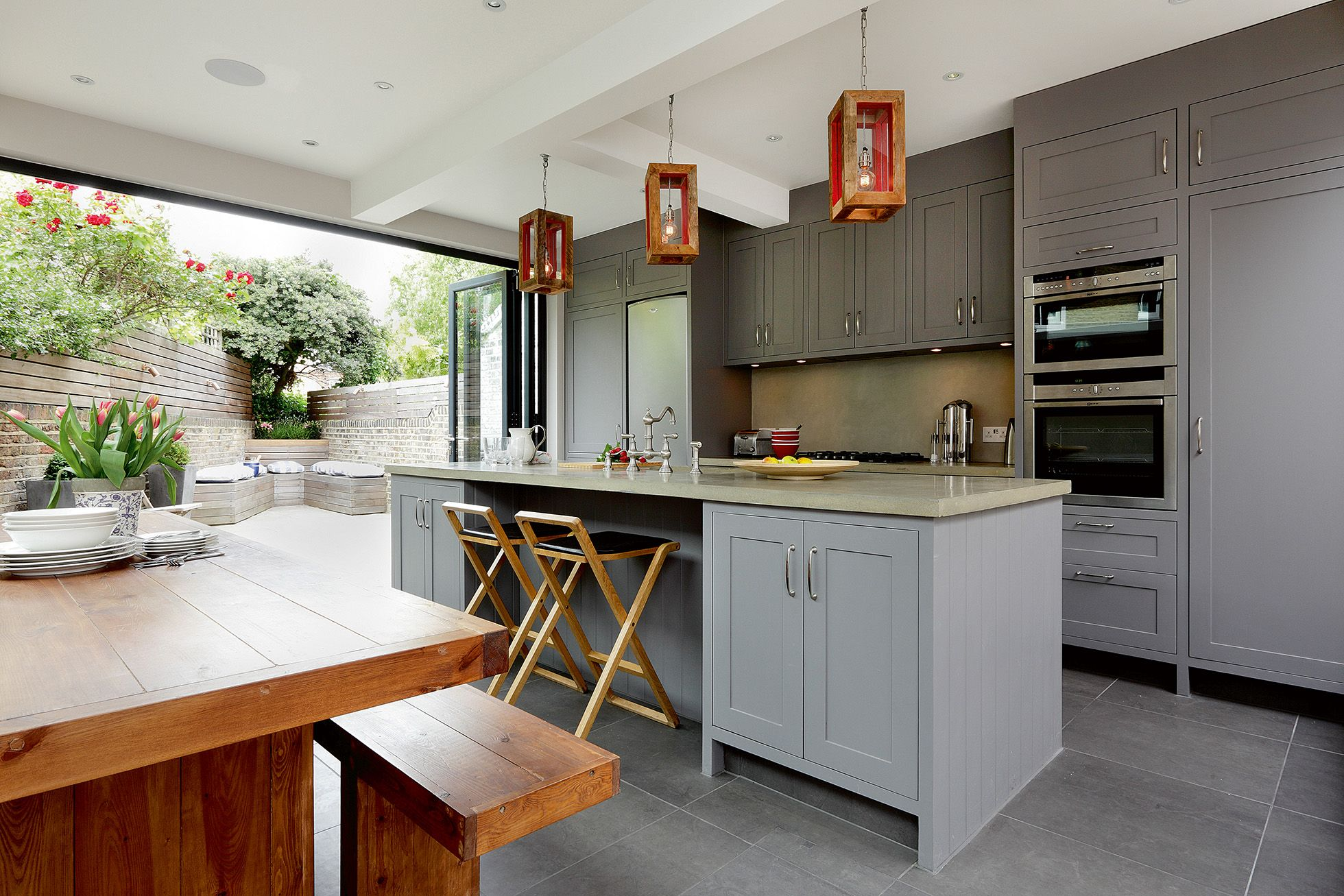 Picture Of Open Small Kitchen Victorian Terrace With Grey - Victorian kitchen extension design ideas