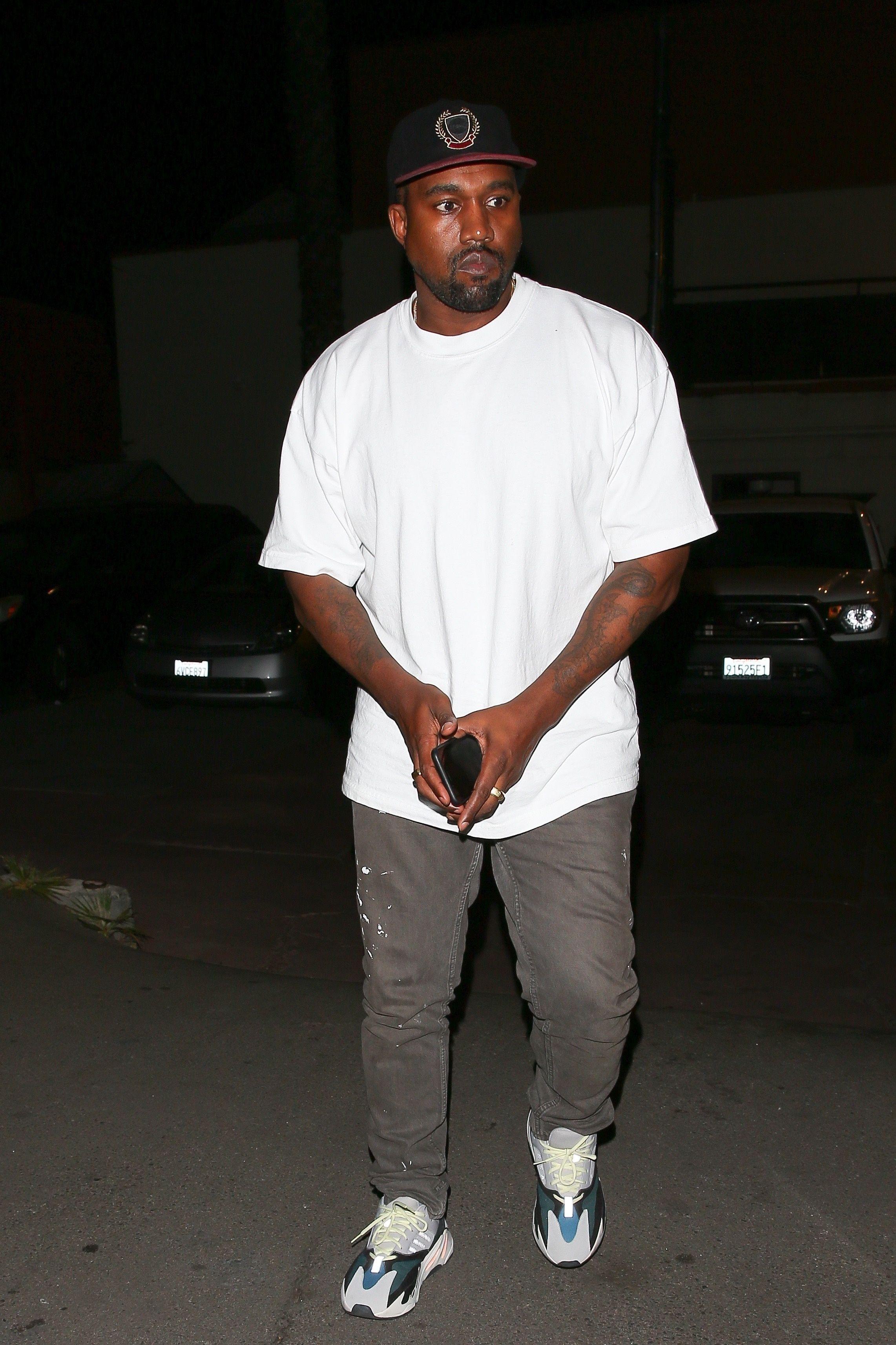 2c217f73a Kanye West wearing Yeezy Season 5 Crest Hat
