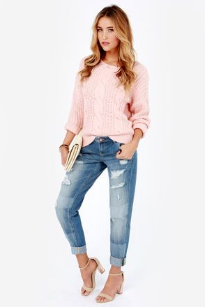 Dittos Charlie Ripped Wash Cropped Boyfriend Jeans--I want to try a pair an see if I can pull off the boyfriend jean look!!