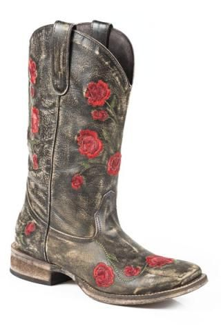 26397311216 Women's Boots Roper Brown Red Rose Embroidery Rosey in 2019 ...