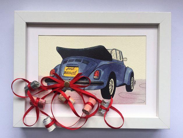 Geldgeschenk Hochzeitsgeschenk Auto mit Bilderrahm
