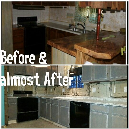 Best Kitchen Makeover Gray Stained Cabinets Barnwood Trim 640 x 480
