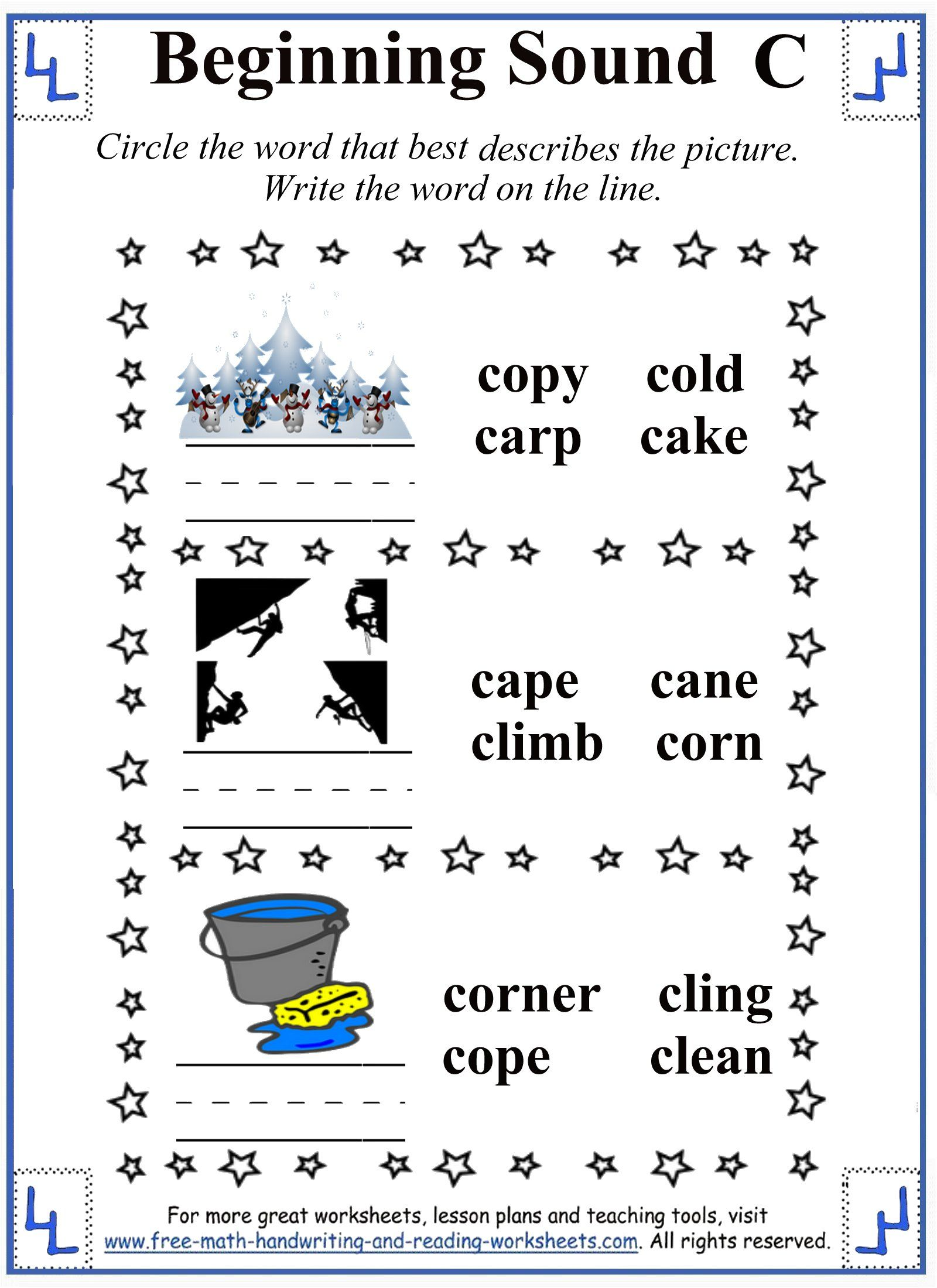 Worksheets Letter Sound Worksheets printable letter c worksheets activities consonant letters learn beginning and ending sounds with these n for elementary pre k students find consonan