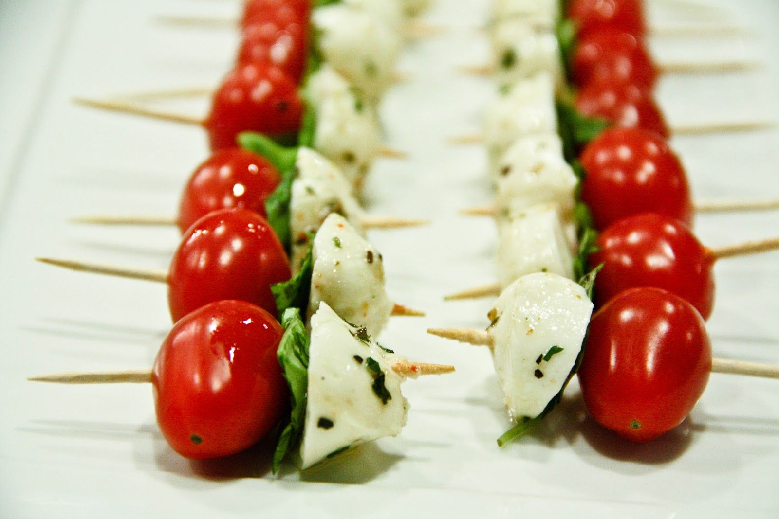 Caprese Salad Sticks w/Balsamic Reduction Drizzle (gluten-free, contains dairy) - Vegetarian Gastronomy