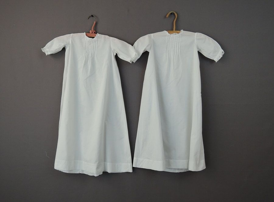 Early 1900s 2 Identical White Cotton Baby Gowns, Pleats & Lace Trim ...