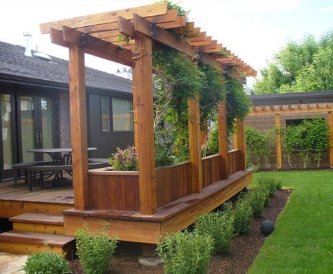 Wood Deck With Arbor And Garden Boxes Backyard Decks Backyard Deck With Pergola