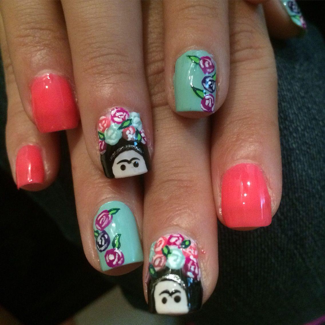 Frida Kahlo nail art/ nails | Nails | Pinterest | Art nails, Frida ...