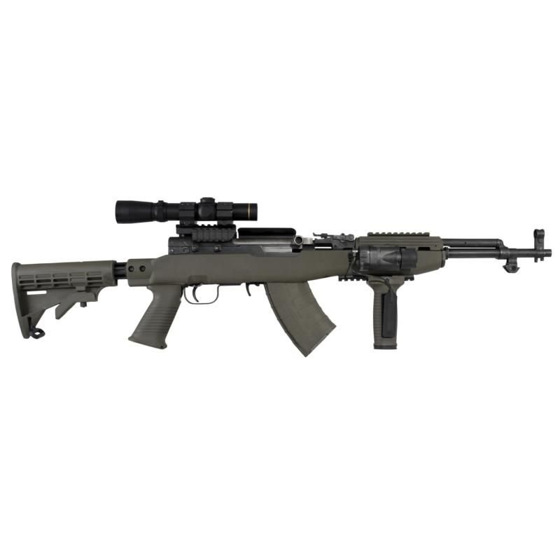 SKS Simonov × Rifle With Tapco Intrafuse Collasable Stock System, Color  Dark Earth, Scope, Mount, Lamp And Verical Grip