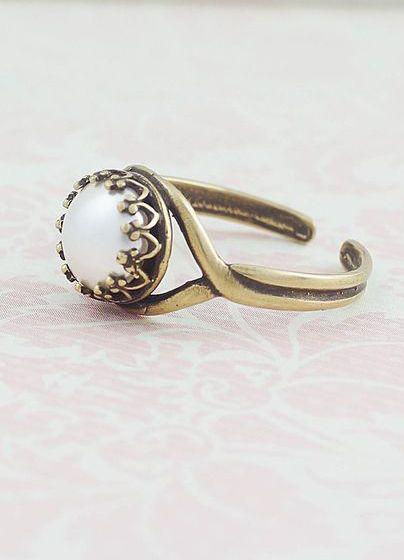Vintage Style Swarovski Pearl Ring Adjustable Ring
