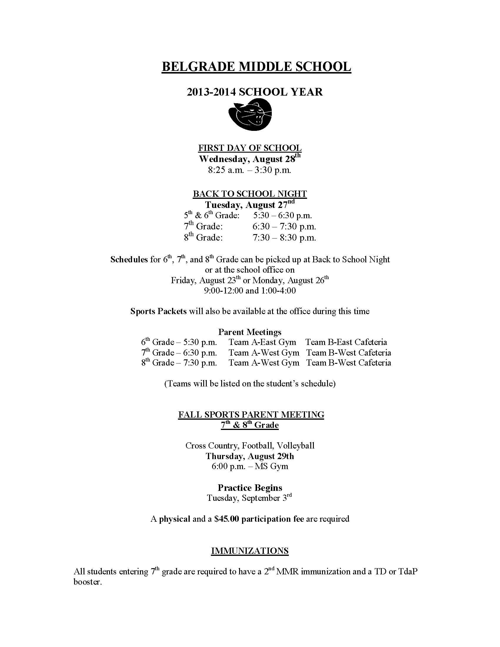 medium resolution of Middle School Back to School Newsletter   School newsletter