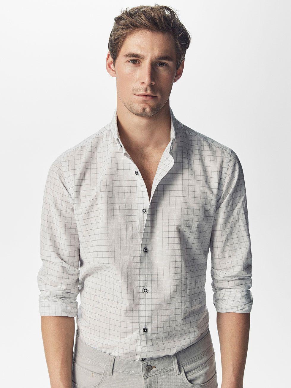 Skinny Fit Overhemd.Grijs Overhemd Met Geruit Motief Slim Fit Voor Heren Casual