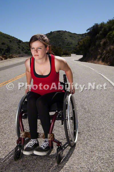 Photographer: Neil Kremer; Model: Maria Gast wheelchair;woman;women;disability;disabled;access;accessibility;gym;weights;training;exercise;therapy;rehab