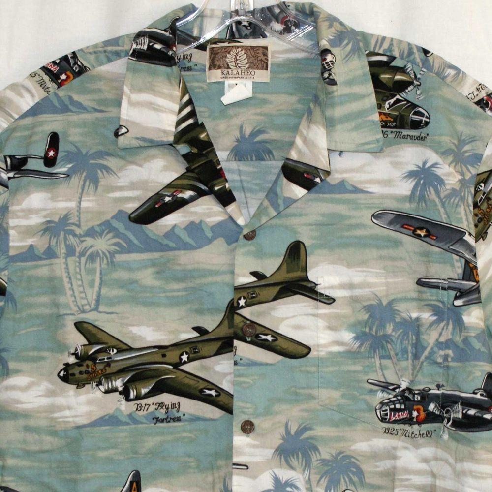 de75bacc Kalaheo Large Hawaiian Shirt WWII Airplanes B17 B24 B25 B26 B29 Bomber Mens  #Kalaheo #Hawaiian