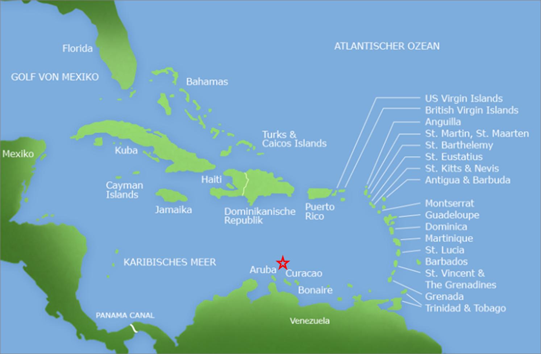 Curacao Karte Vom Gesamtgebiet Mit Curacao Karibik Karte Kleine Antillen Karibik Urlaub