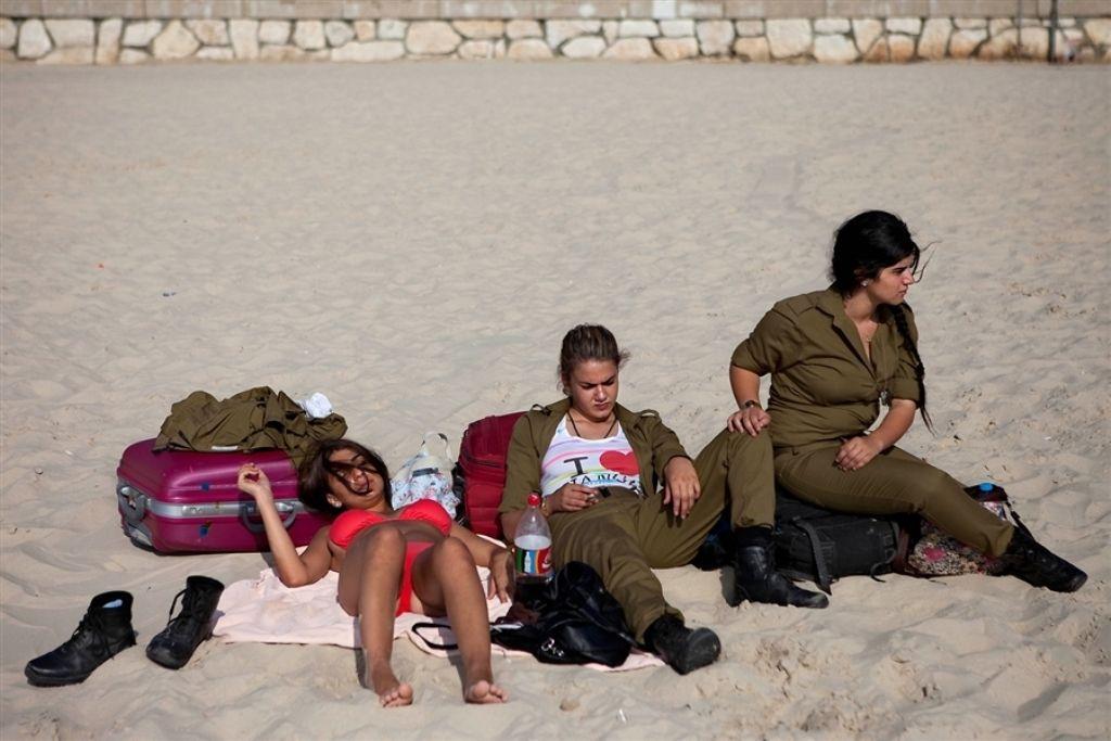 Israeli Women Soldiers Beach