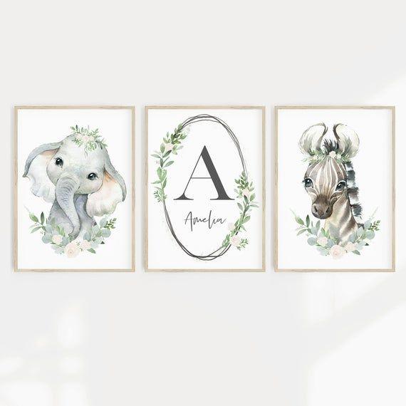 Nursery Wall Art, Set of 3,  Nursery Prints, Baby Girl Nursery, Safari, Animal, Woodland Nursery Decor, Animal Nursery Prints, Nursery Art