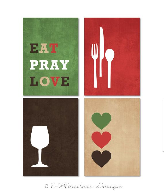 Modern Kitchen Wall Decor Eat Pray Love Trio By: Modern Kitchen Wall Art Print Set