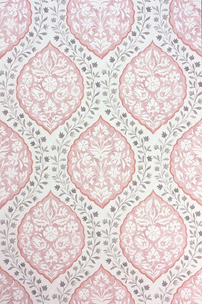 Marguerite Pink/Grey tapet från Nina Campbell Tapetorama