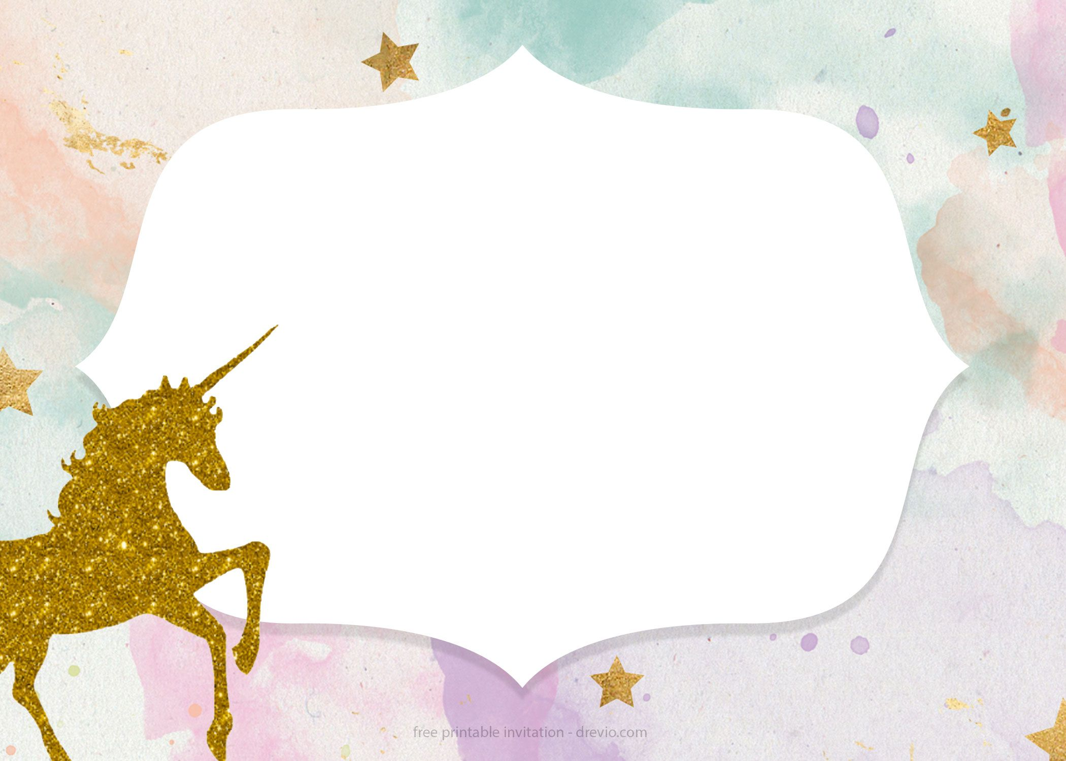 graphic regarding Free Printable Unicorn Template referred to as Totally free Whimsical Pastel Unicorn Birthday Invitation No cost