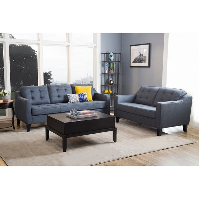 Best 2Pc Natalie Tufted Fabric Sofa And Loveseat Navy Blue 640 x 480