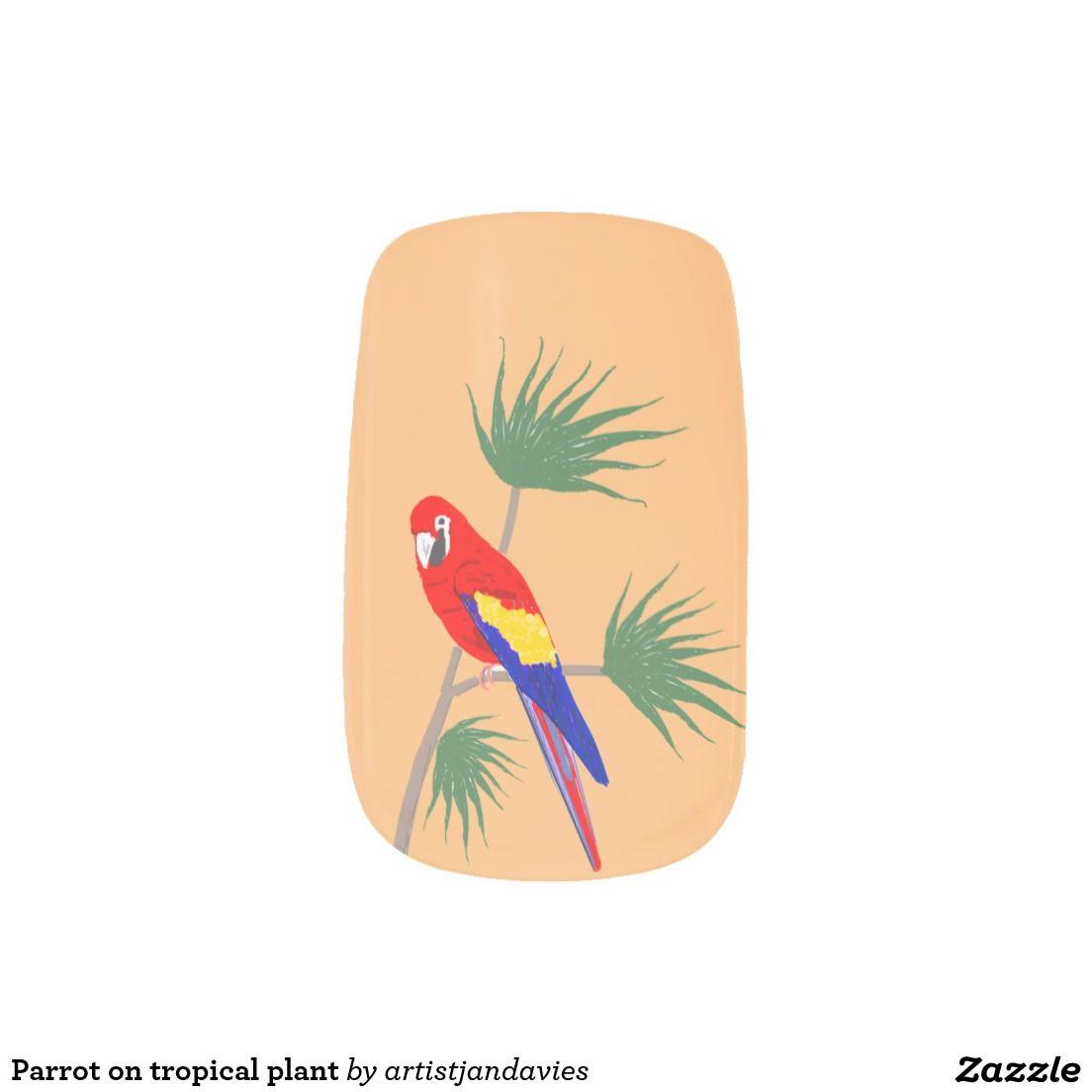 Parrot on tropical plant Minx® nail art | mejkapy ciuchy i inne ...