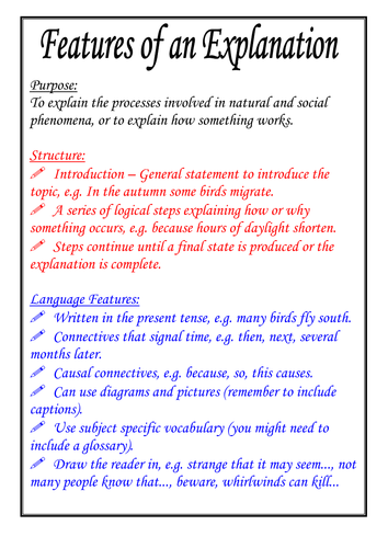 features of an explanation poster