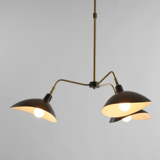 Matte black and brass 3 arm chandelier v1 world market 250