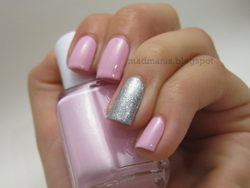 Photo of Pink with silver glitter accent nail by Mad Manis