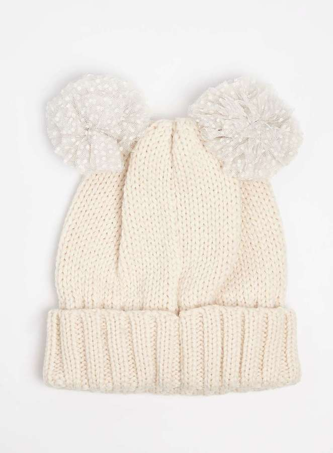 Cream Two Pom Novelty Beanie Hat | gorros | Pinterest | Gorras y Bebe