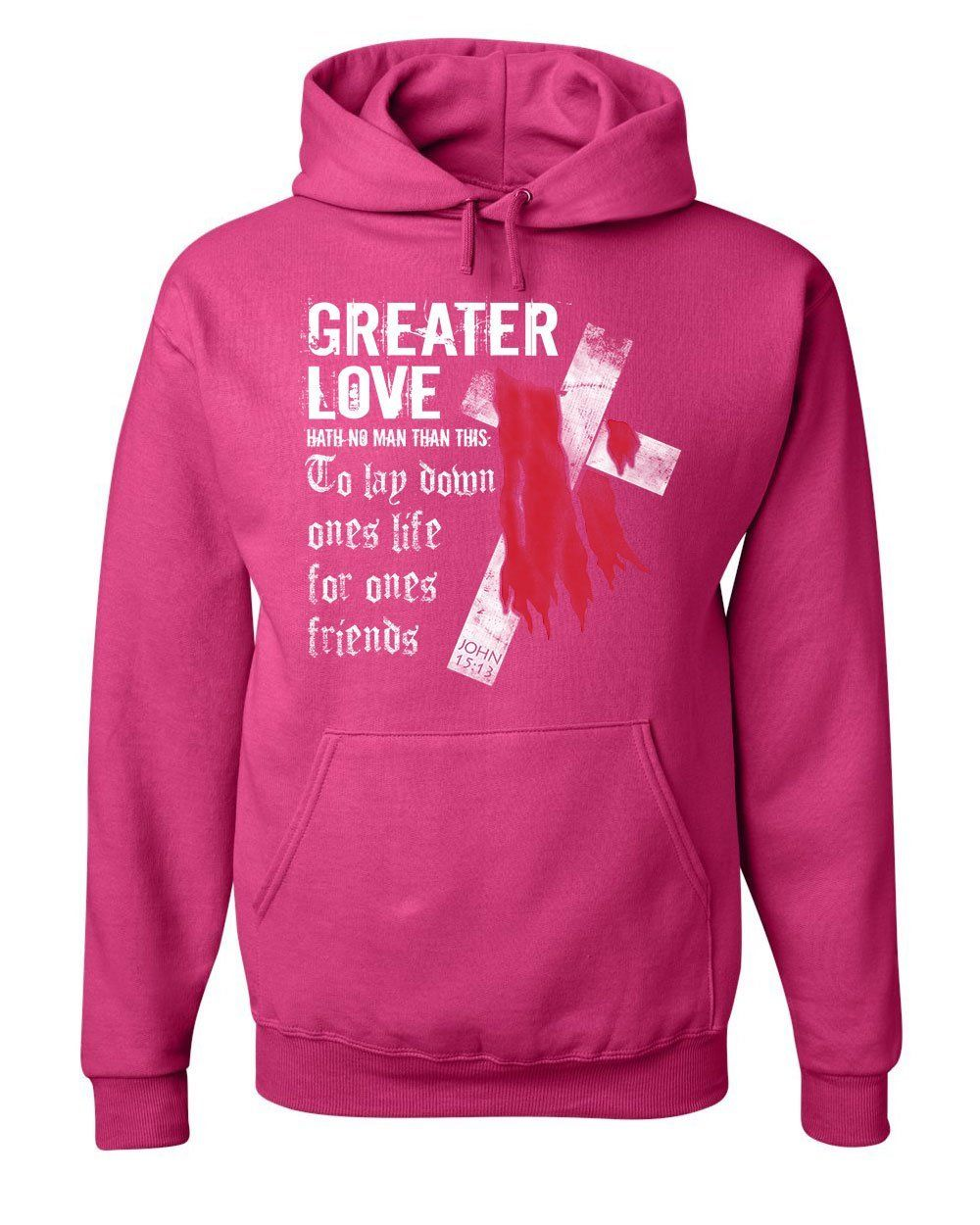 e8ea1fcd7 Greater Love Hoodie Jesus Christ Cross Bible Religion God Lord Sweatshirt